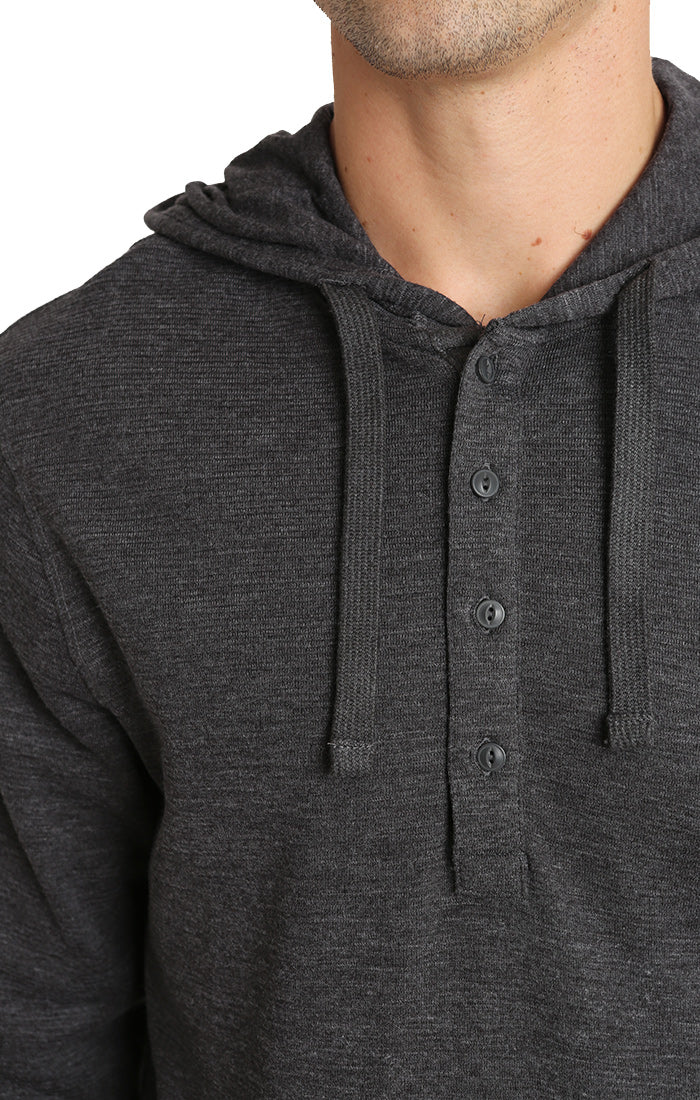 Dark Heather Grey Waffle Hooded Henley - jachs