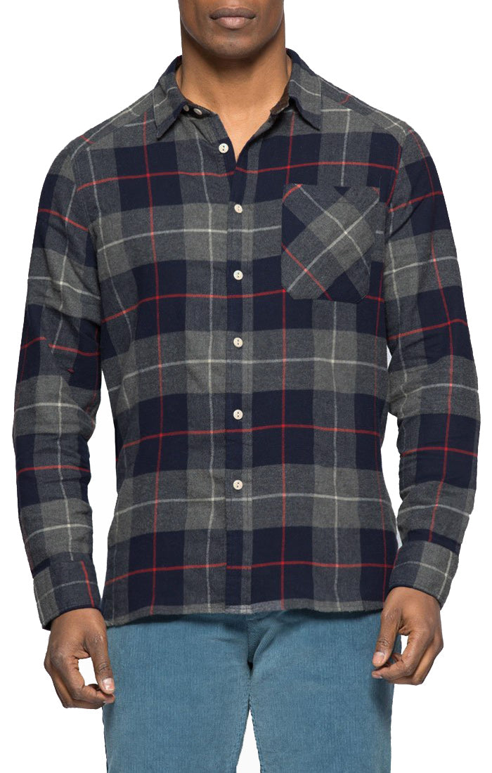 Navy and Grey Plaid Flannel Shirt