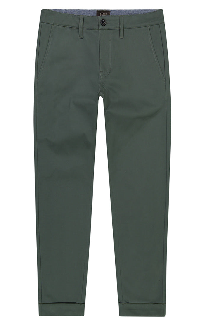 Spruce Green Cropped Fit Stretch Bowie Chino - jachs