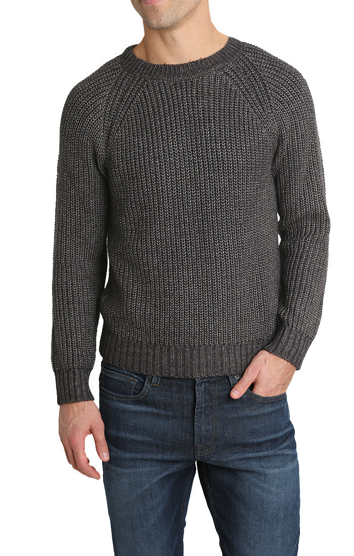 Charcoal Marled Ribbed Crewneck Sweater - jachs
