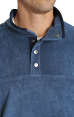 Blue Fleece Mock Neck Pullover - JACHS NY