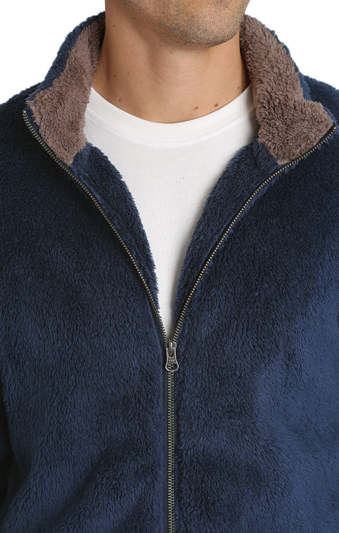 Blue Teddy Sherpa Stretch Zip Jacket - jachs