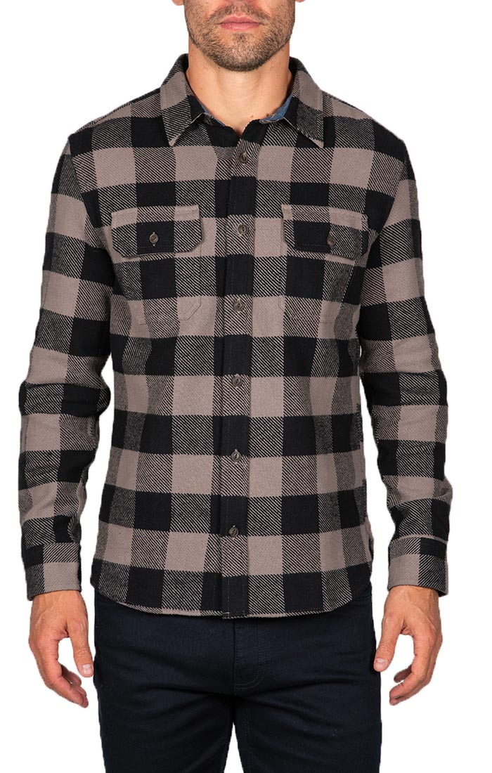 Brown Plaid Brawny Flannel Shirt