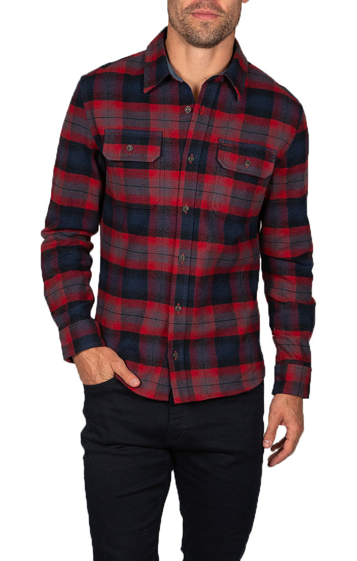 Red Plaid Brawny Flannel Shirt