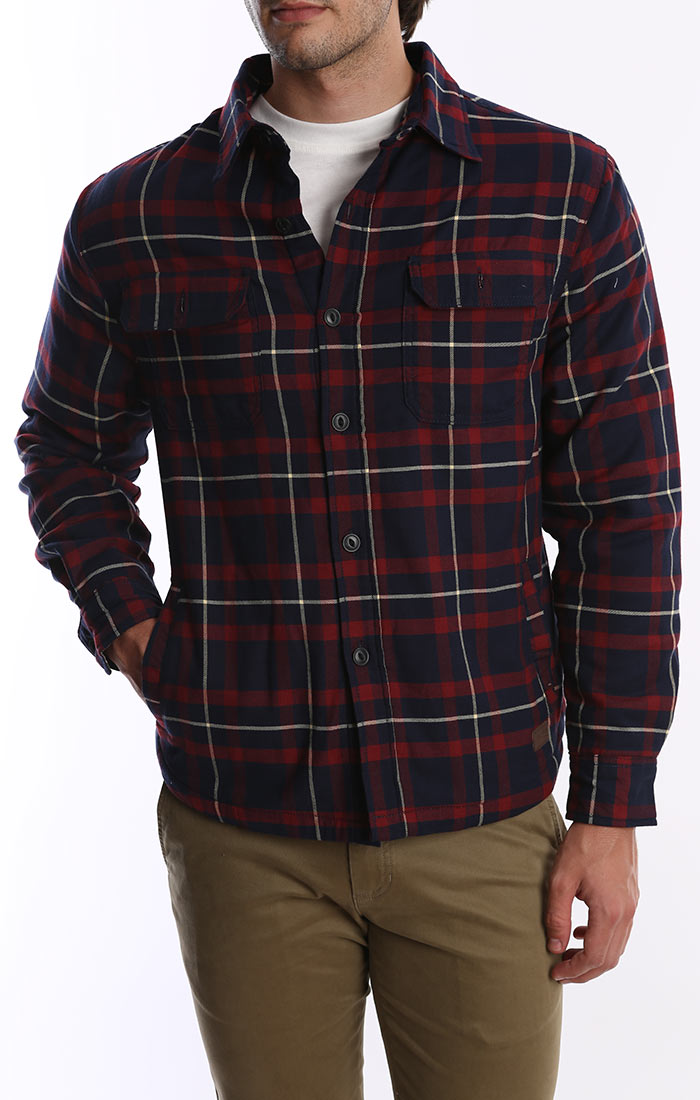 Navy and Red Fleece Lined Shirt Jacket