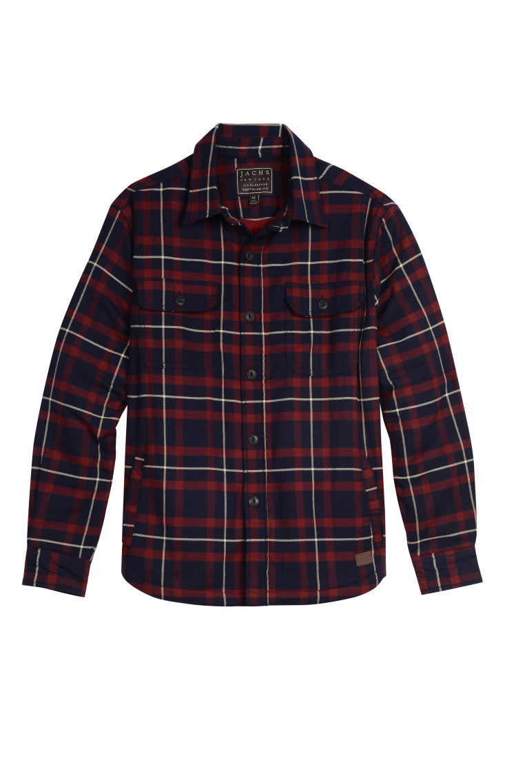 Navy and Red Fleece Lined Shirt Jacket - jachs