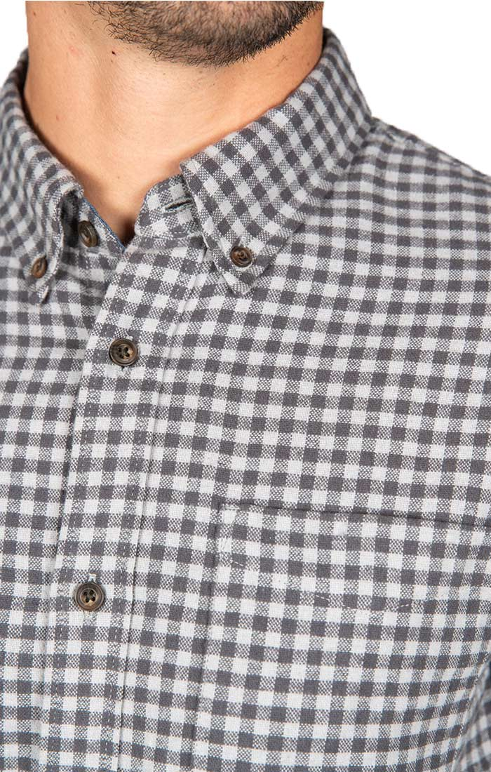 Grey Micro Plaid Flannel Shirt - JACHS NY