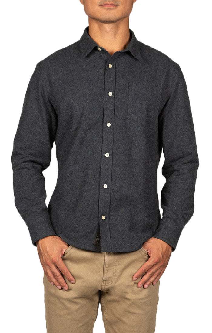 Charcoal Brushed Flannel Oxford Shirt
