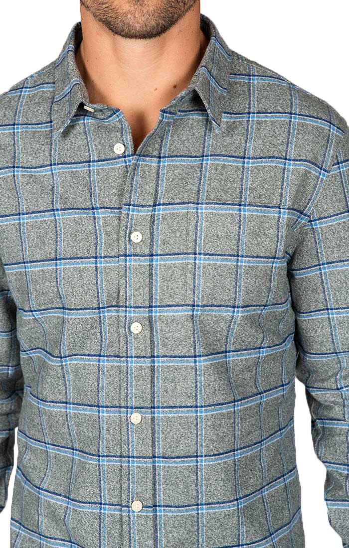 Grey Windowpane Flannel Shirt