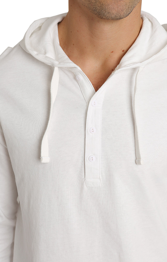 White Sueded Cotton Hooded Henley - jachs