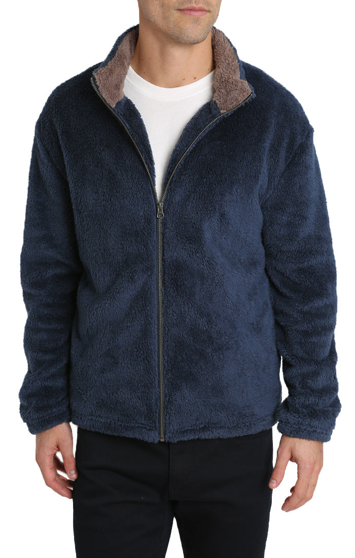 Blue Teddy Sherpa Stretch Zip Jacket
