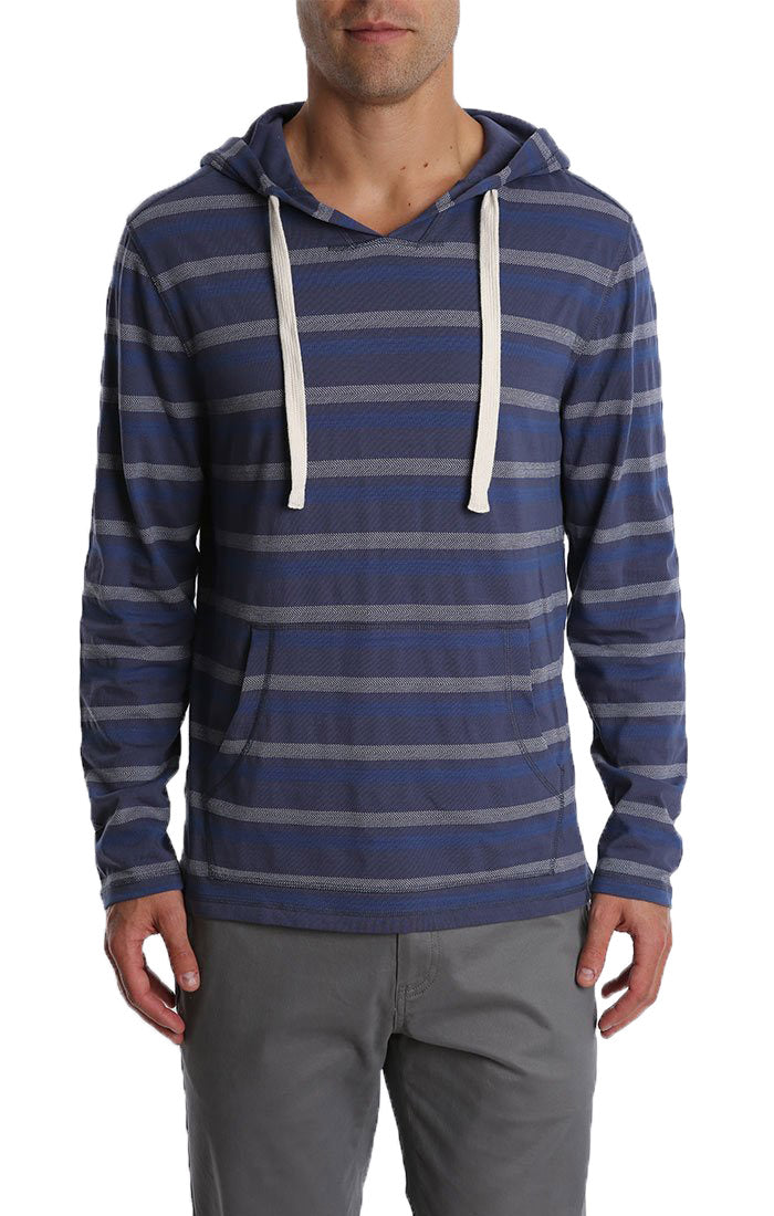 Blue Herringbone Stripe Hooded Pullover