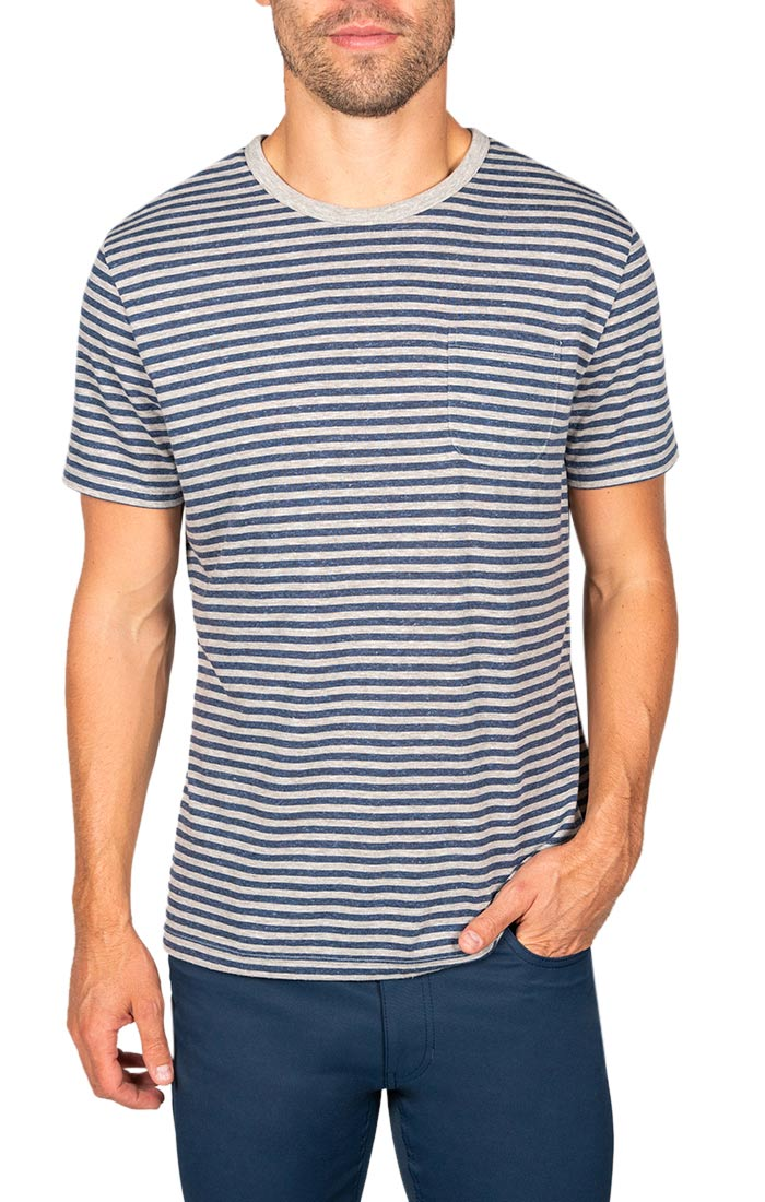 Grey Striped Linen TriBlend Tee