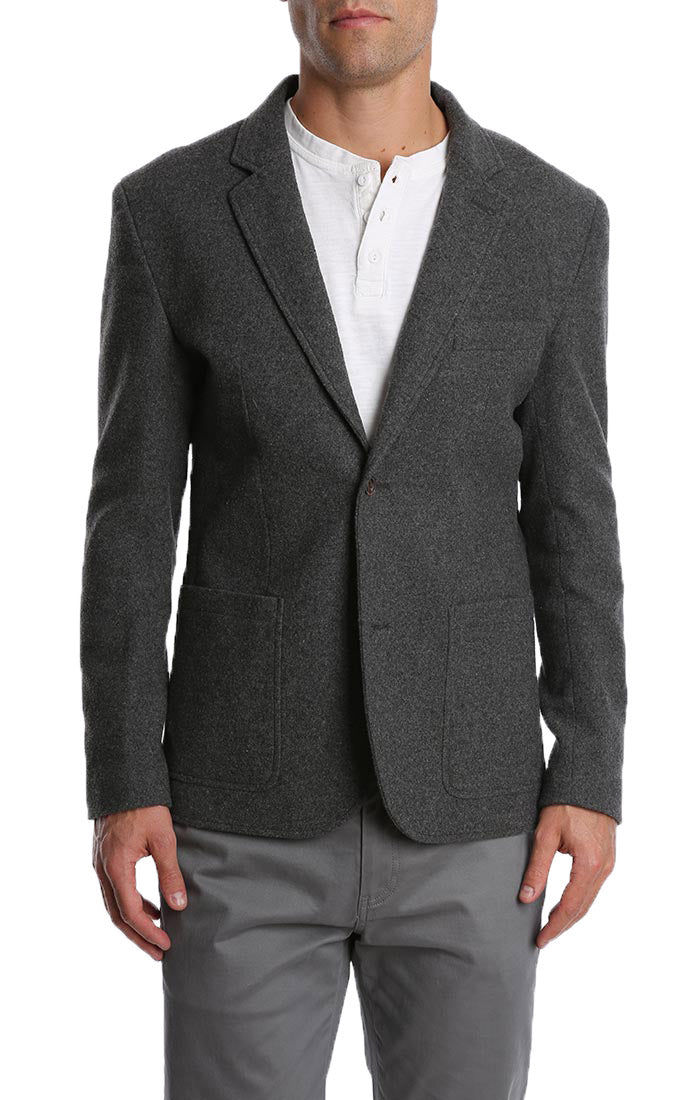 Charcoal Wool Flannel Blazer