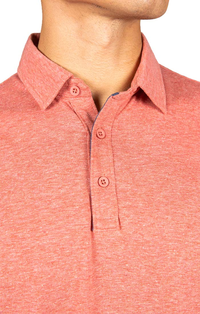 Red Heathered Linen TriBlend Polo