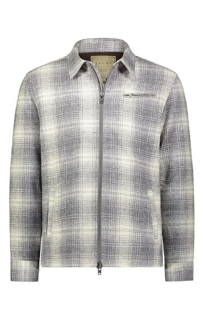Grey Plaid Rustic Brushed Jacket