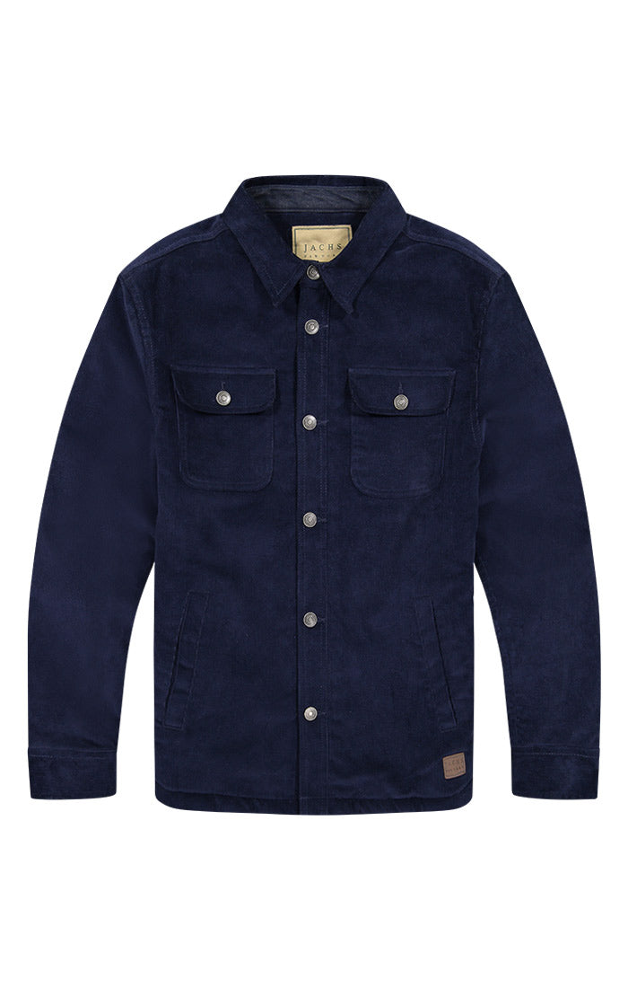Navy Stretch Corduroy Sherpa Lined Jacket - jachs