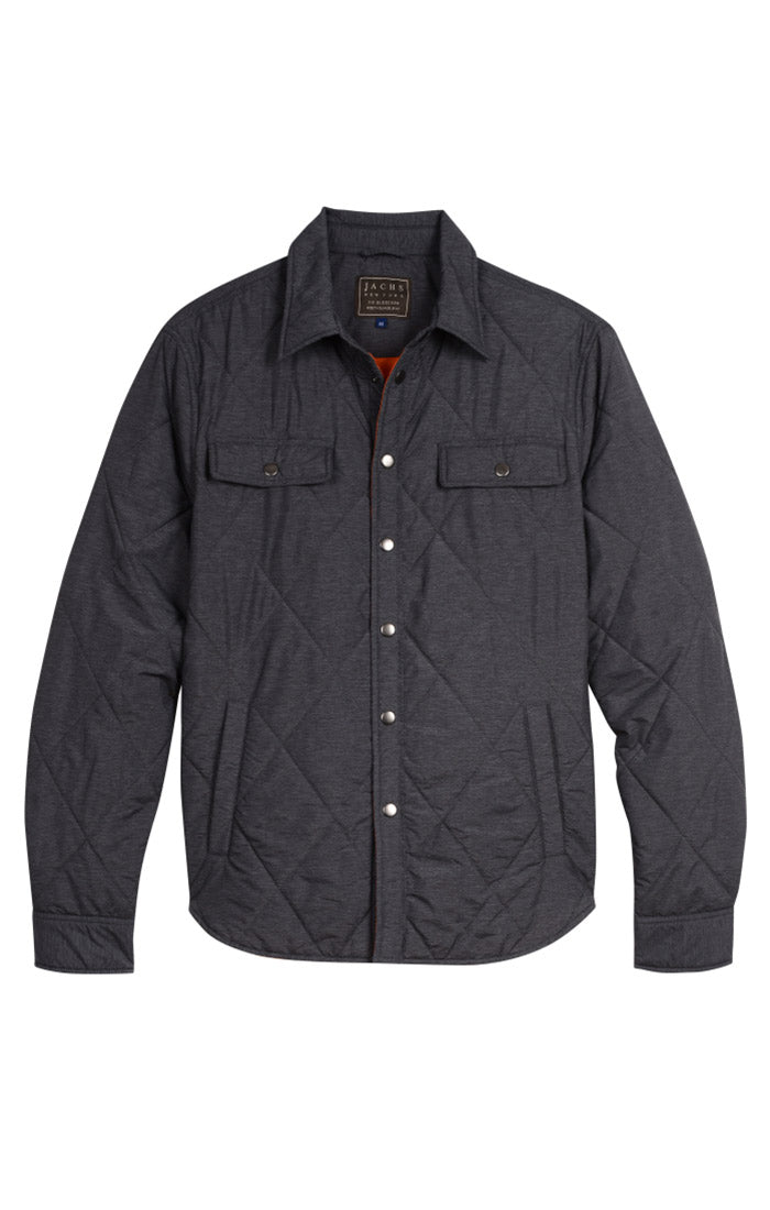 Charcoal Quilted Shirt Jacket