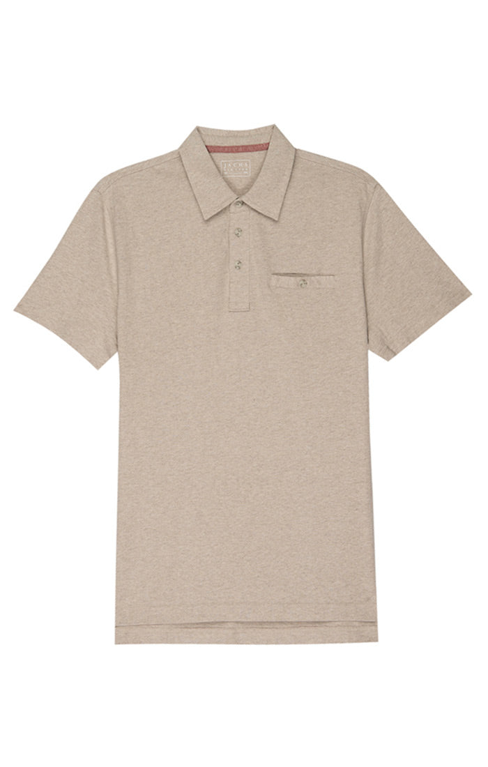 Tan Cotton Linen Polo - jachs