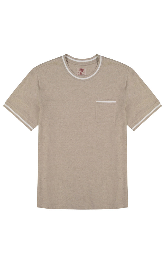 Tan Cotton Linen Ringer Tee
