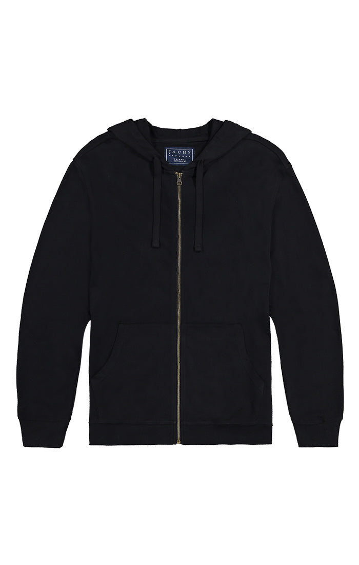 Jet Black French Terry Zip Hoodie