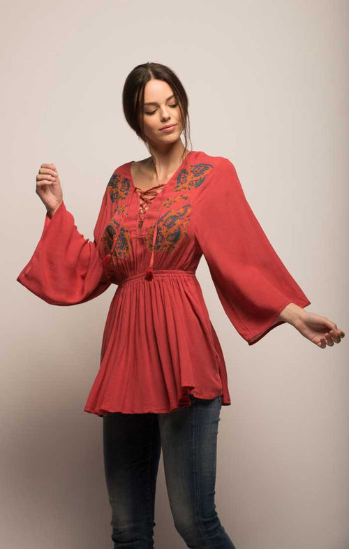 Embroidered Peasant Top - Deep Coral