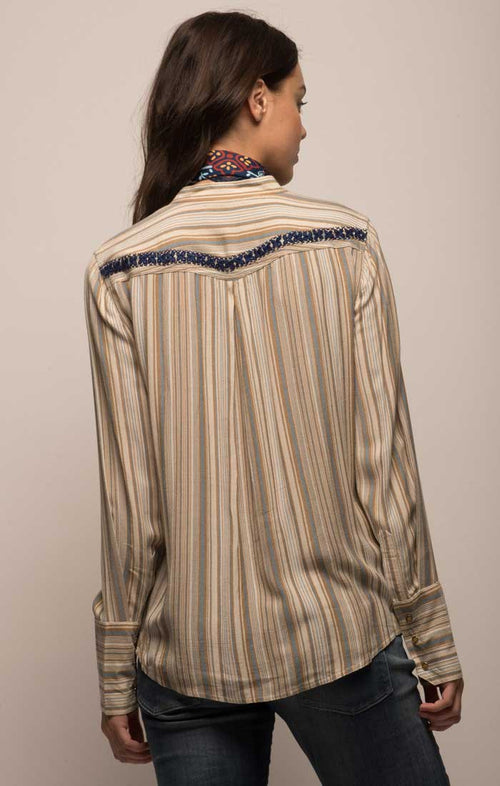 Embroidered Striped Western Shirt
