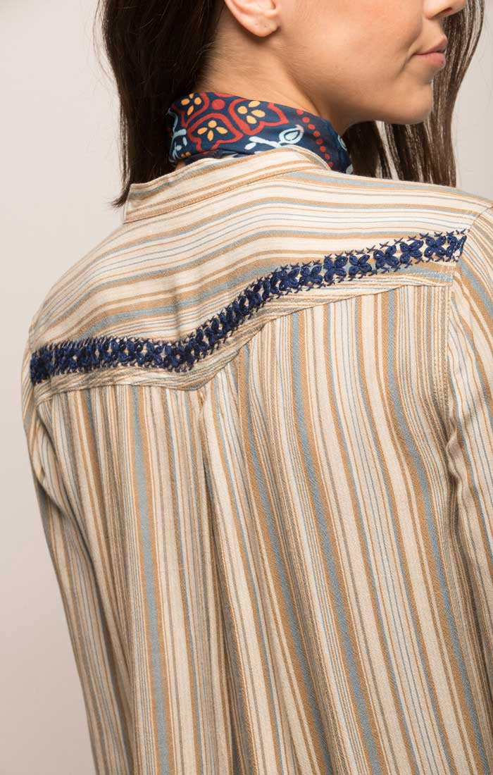 Embroidered Striped Western Shirt - jachs