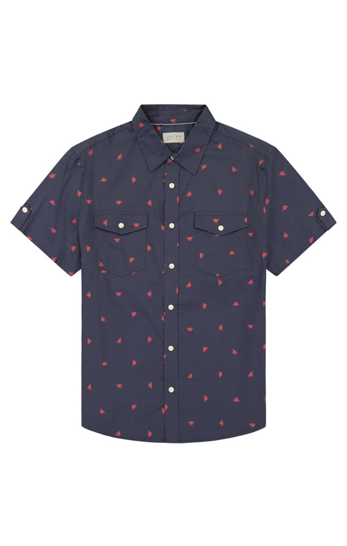 Bee Print Stretch Poplin Short Sleeve Shirt - jachs