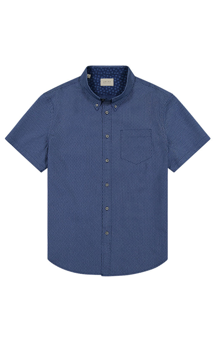 Blue Micro Print Short Sleeve Tech Shirt - JACHS NY
