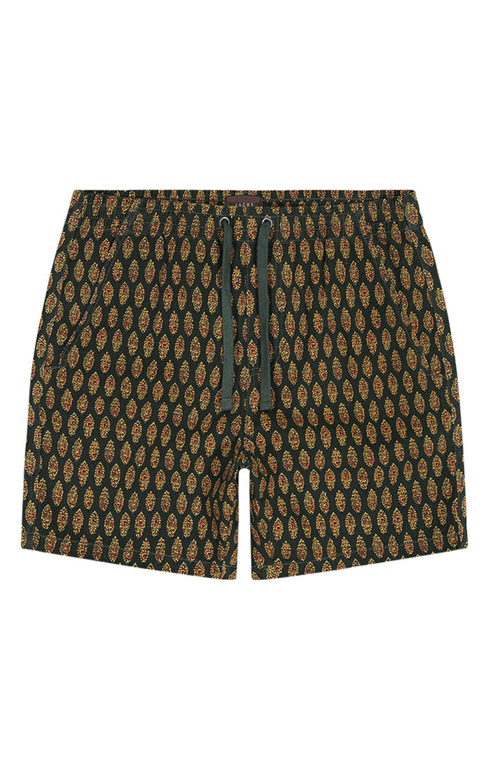 Dark Green Printed Stretch Twill Pull On Dock Short - JACHS NY