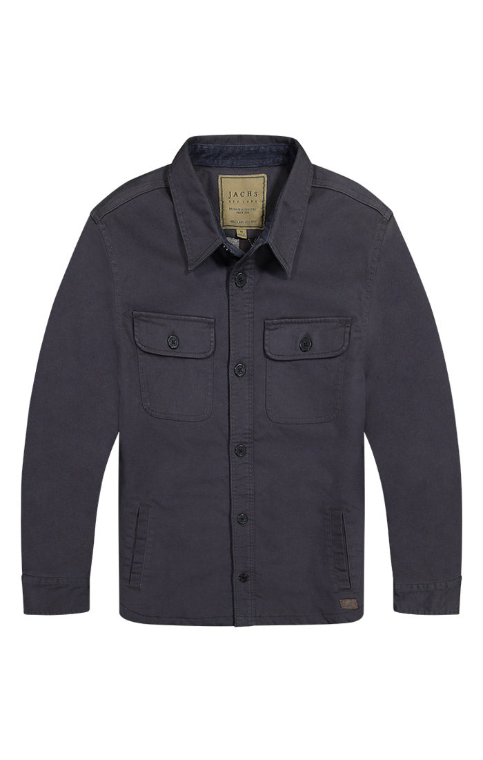 Charcoal Stretch Flannel Lined Shirt Jacket