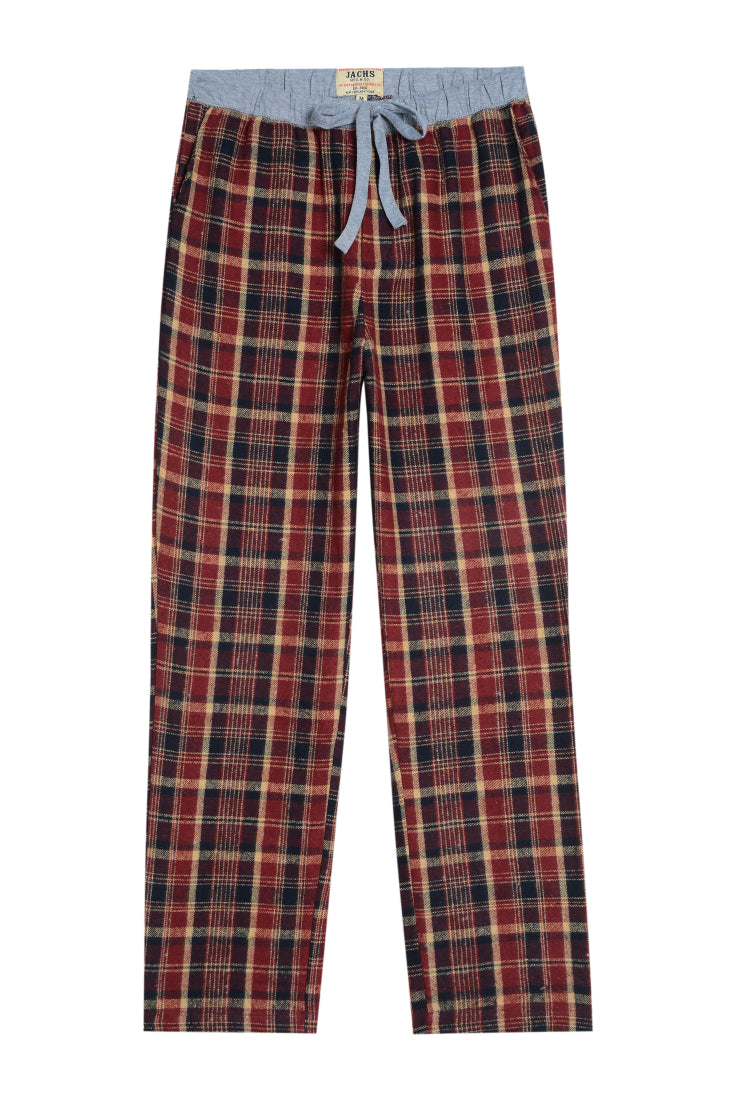 Burgundy Plaid Flannel Lounge Pant