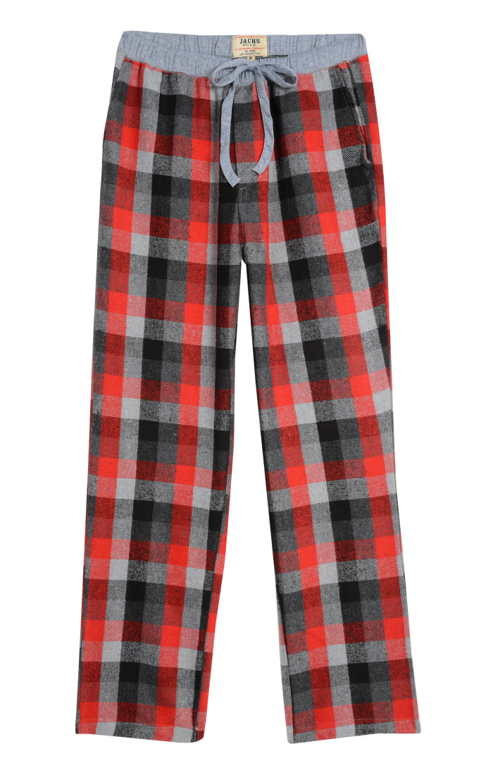 Red and Grey Plaid Flannel Pant