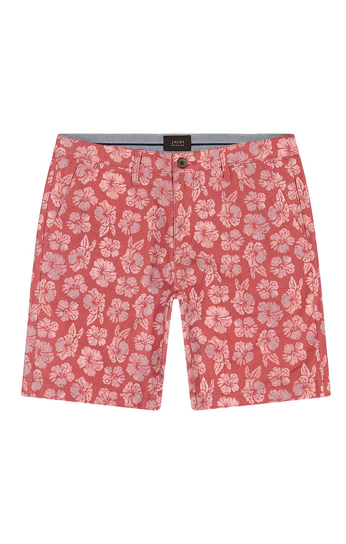 Red Floral Print Stretch Chino Short