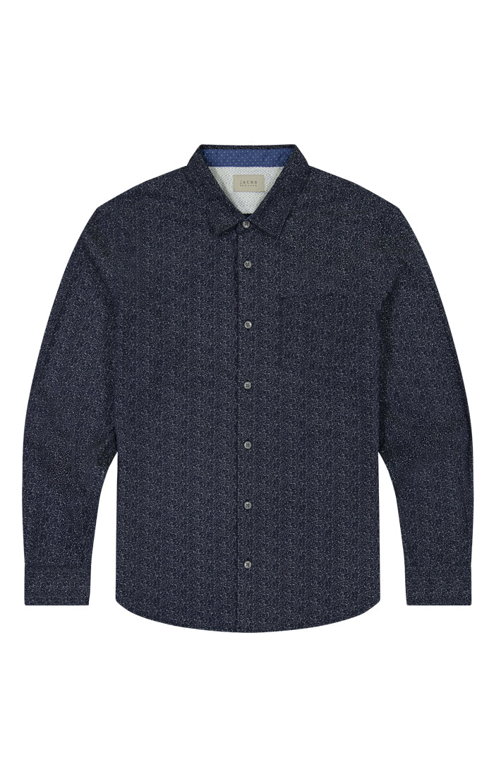 Navy Splatter Print Long Sleeve Tech Shirt - JACHS NY