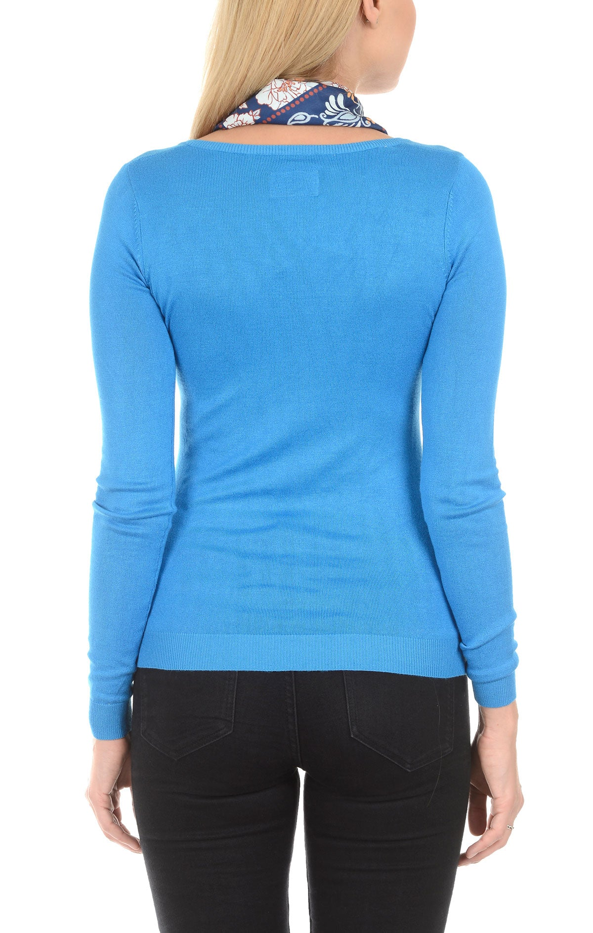 Soft V-Neck Sweater - Blue - jachs