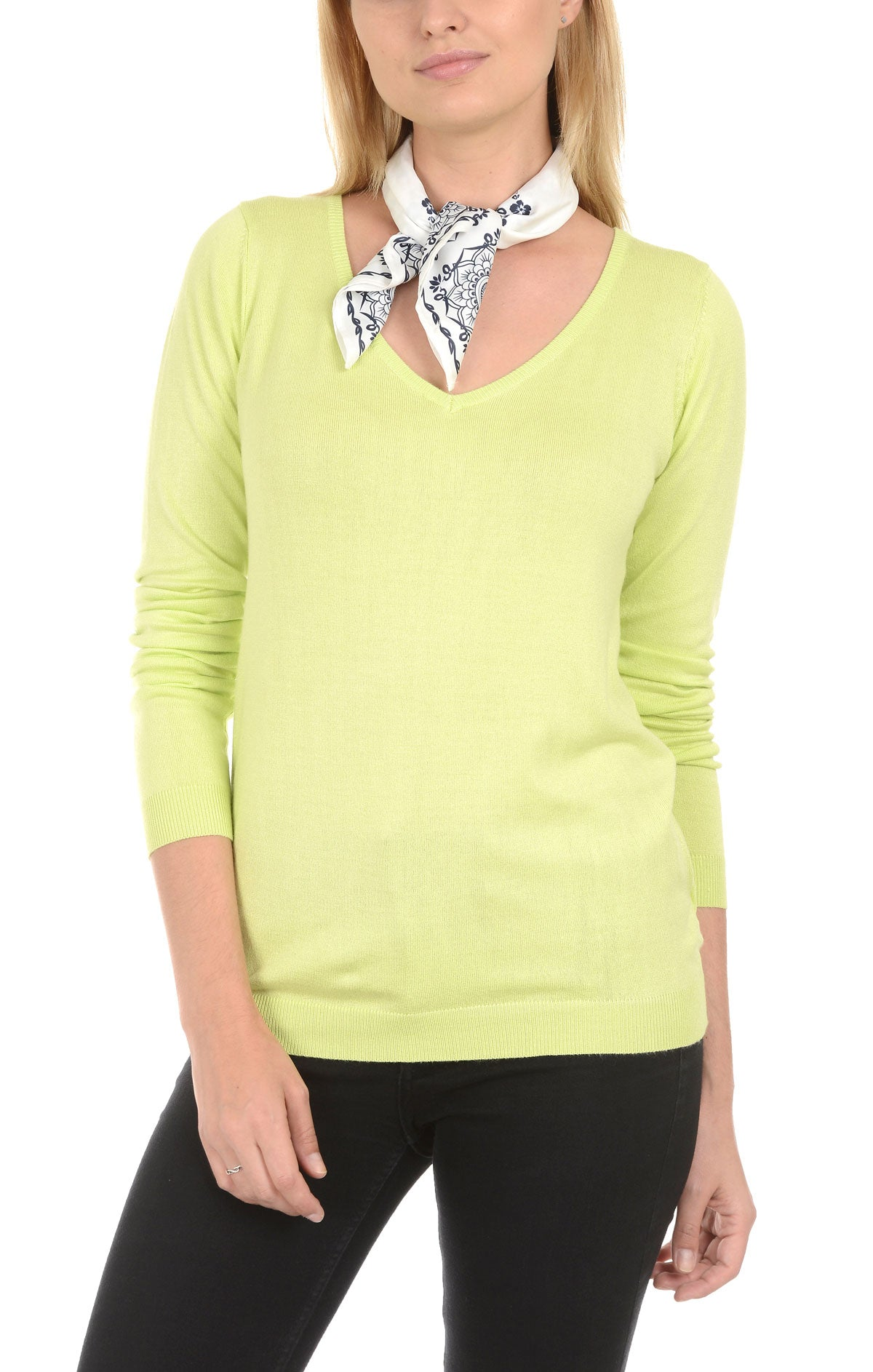 Soft V-Neck Sweater - Lime - JACHS NY