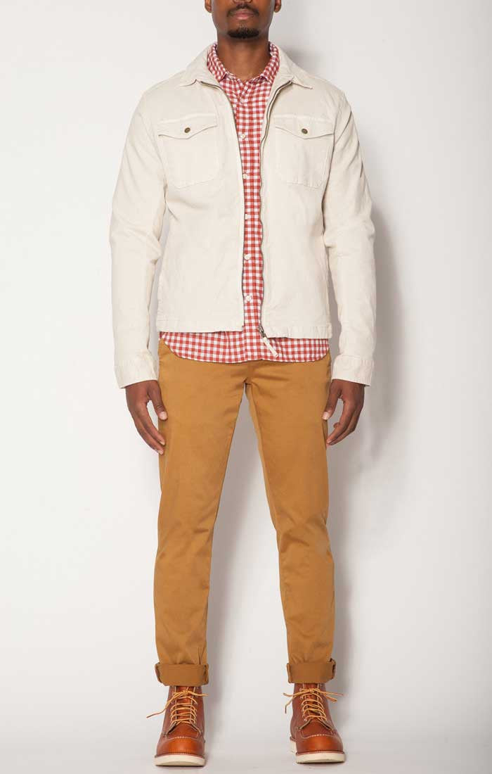 Orange Gingham Cotton Linen Shirt