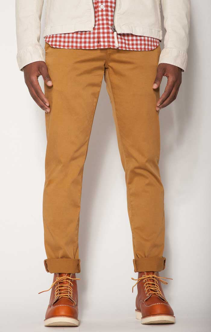 Mustard Bowie Fit Stretch Cotton Chino