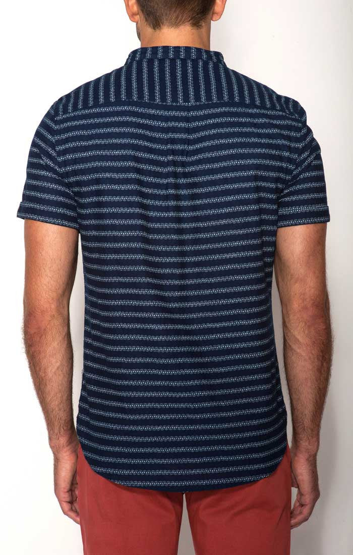 Indigo Short Sleeve Popover Shirt With Band Collar