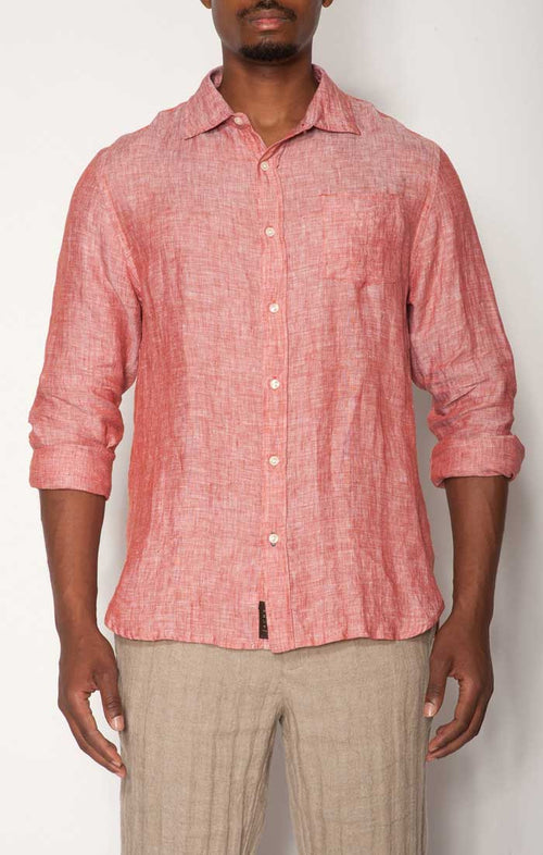 Red Linen Chambray Shirt