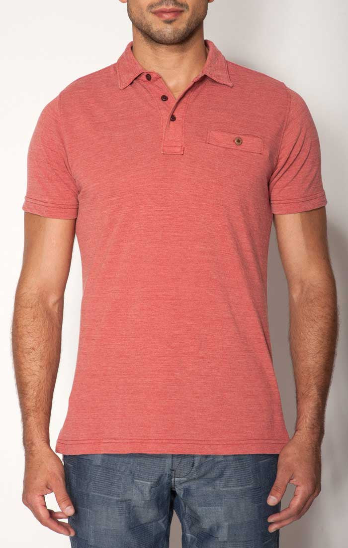 Red Washed Pique Polo