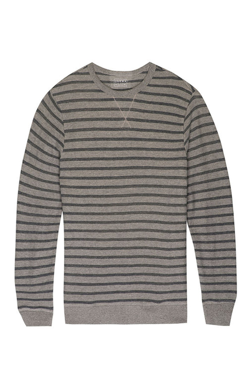 Grey Stripe French Terry Crewneck