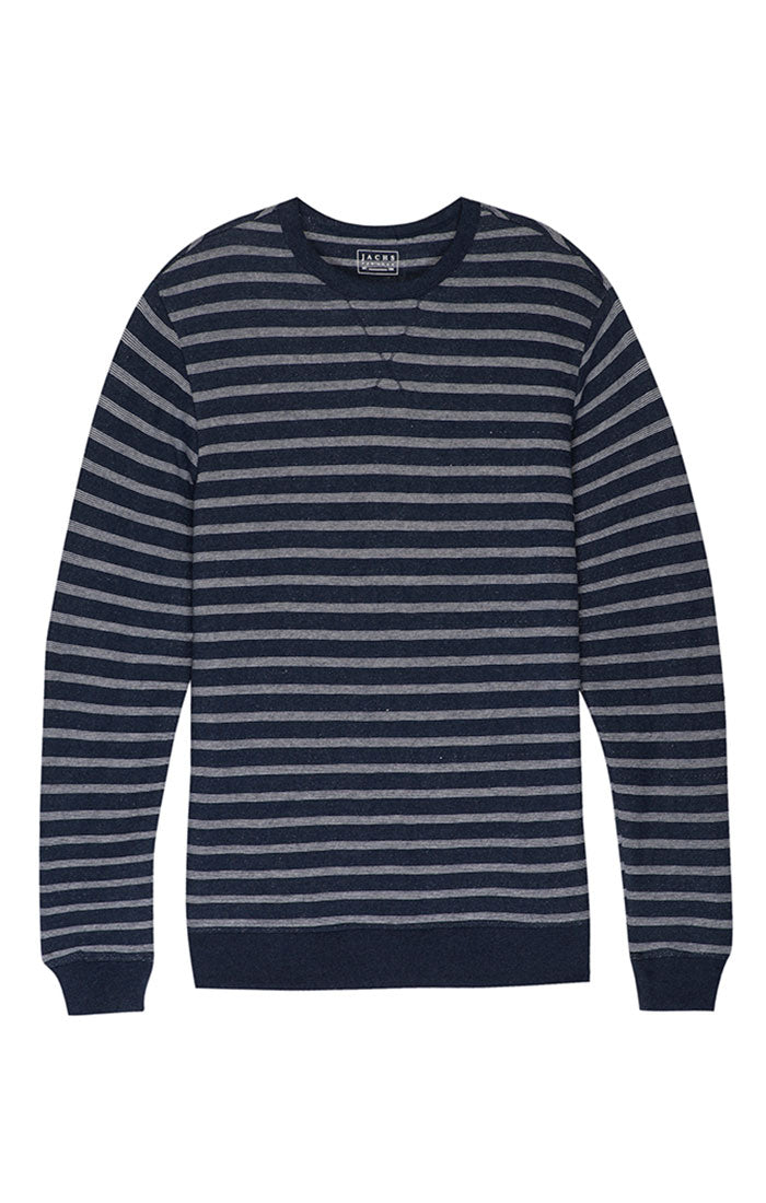 Navy Stripe French Terry Crewneck - jachs