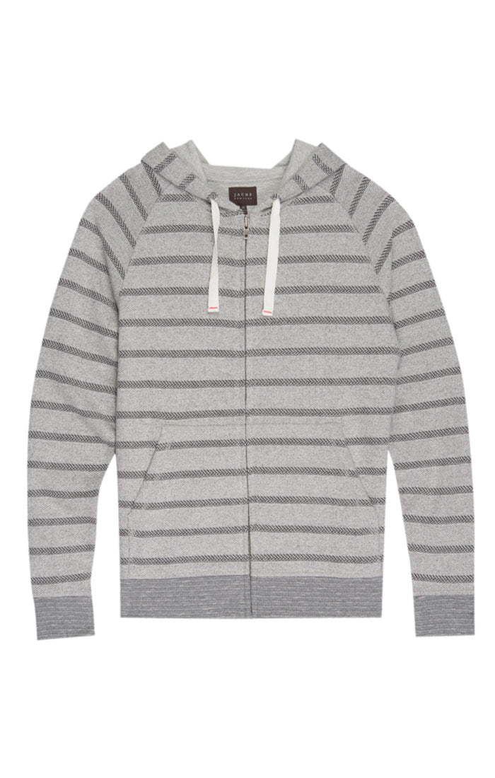 Grey Stripe French Terry Zip Up Hoodie - jachs