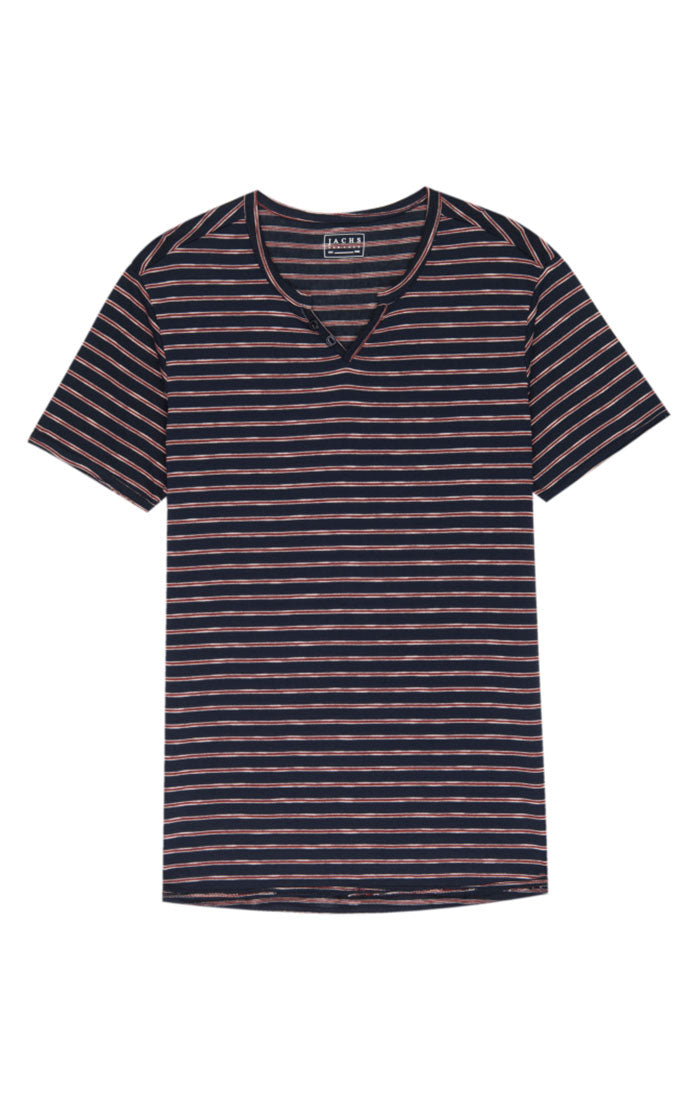 Striped Split V Tee