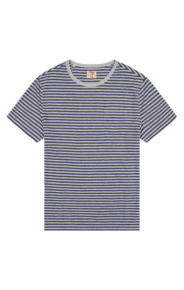 Grey Striped Linen TriBlend Tee - jachs