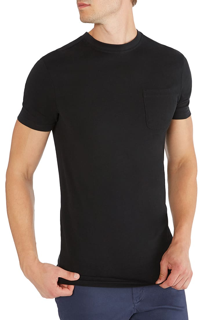 Jet Black Sueded Cotton Pocket Tee