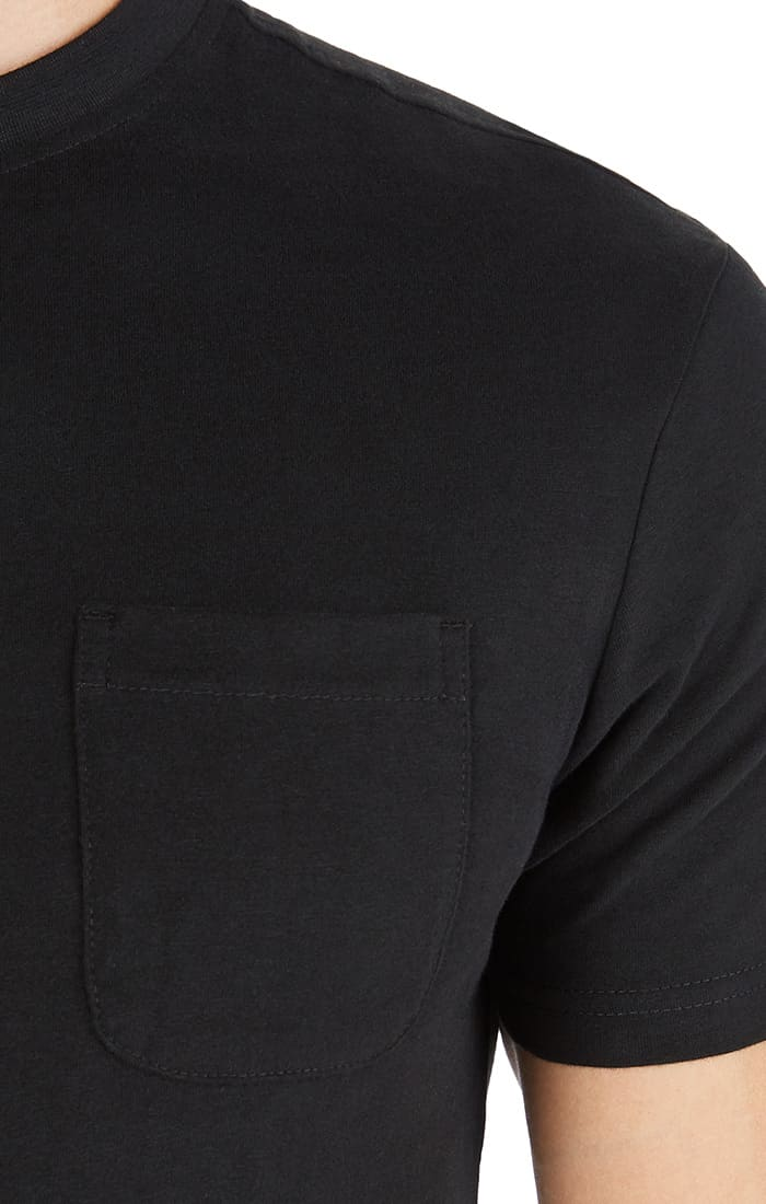 Jet Black Sueded Cotton Pocket Tee - jachs